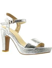 Angkorly - Zapatillas de Moda Sandalias Tacón escarpín zapatillas de plataforma sexy mujer tanga Hebilla Talón Tacón ancho alto 11 CM - Plata