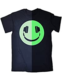 123t Men's - GLOW IN THE DARK HEADPHONE SMILEY - Loose Fit T-shirt