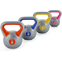 York Fitness Vinyl Kettlebell Set - Orange/Blue/Yellow/Pink, 20kg