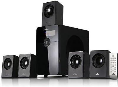 AUNA HF583 Sistema sonido multicanal Home Cinema 5.1 (70W RMS, entrada USB SD MP3, radio FM, subwoofer 10cm 4