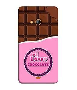Nokia Lumia 730 Dual SIM, Nokia Lumia 730 Dual SIM RM-1040 Back Cover Bite Chocolate And Chocolate Pieces Concept Vector Illustration I Love Chocolate Design From FUSON