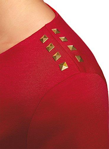 oodji Ultra Damen Bluse mit 3/4-Arm und Reißverschluss Am Rücken Rot (4500N)