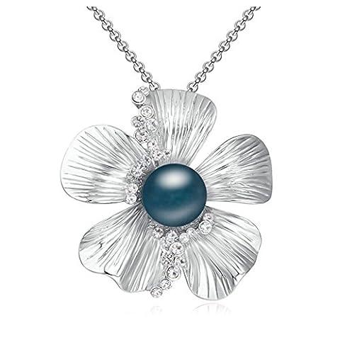Aooaz Metalllegierung Damen Halskette Anhänger Ting-Sakura Blumen Kristall Runde Dunkel Blue Perlen Anhänger Halskette Für Frauen Hochzeit Pullover-Ketten