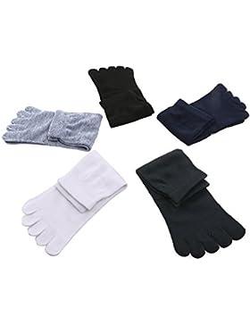 OULII Calzini calzini di massaggiatore allineamento del piede del separatore calzini, 5 paia (nero bianco blu...