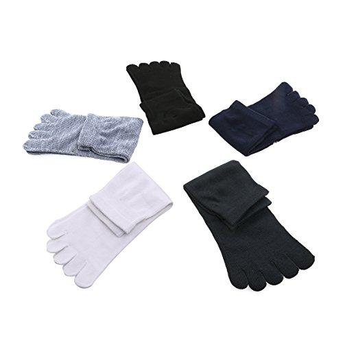 OULII Calzini calzini di massaggiatore allineamento del piede del separatore calzini, 5 paia (nero bianco blu scuro grigio chiaro grigio scuro)