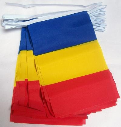 FAHNENKETTE RUMÄNIEN 6 meter mit 20 flaggen 21x14cm - RUMÄNISCHE Girlande Flaggenkette 14 x 21 cm AZ FLAG