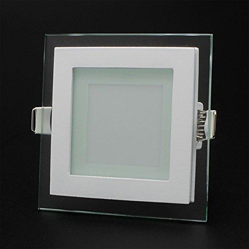 6/12/18W LED Panel Leuchte Glas Dimmbar Quadrat Deckenlampe Deckenleuchte Einbaustrahler Beleuchtung flach(6W/Nicht Dimmbar;Warmweiß)