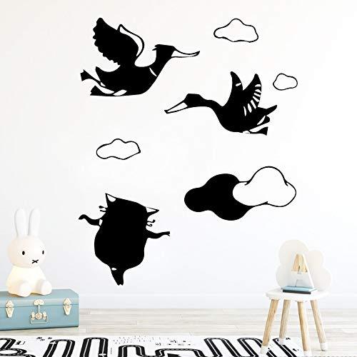 guijiumai Geschnitzte Katze und der Schwan Wandaufkleber Personalisierte Kreative Kunst Wandbild Für Wohnzimmer Schlafzimmer Wohnkultur Tapete Zugang43X52CM