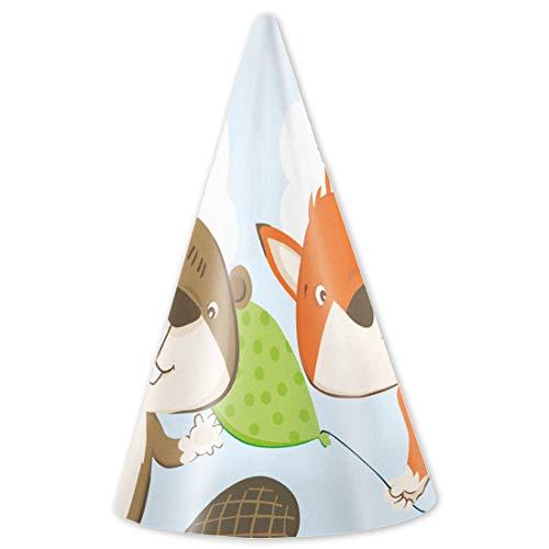 NET TOYS 8 Fuchs & Biber Party-Hütchen | ca. 16 cm hoch | Niedliche Party-Deko Geburtstags-Hüte Märchenwald geeignet für Kindergeburtstag & Kinderfeiern