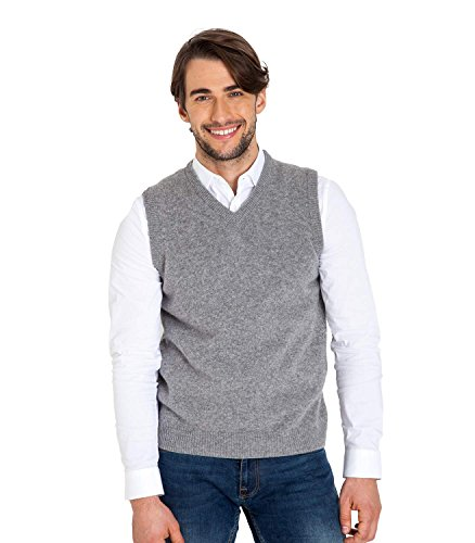 WoolOvers Pull sans manches - Homme - Laine dagneau Flannel Grey