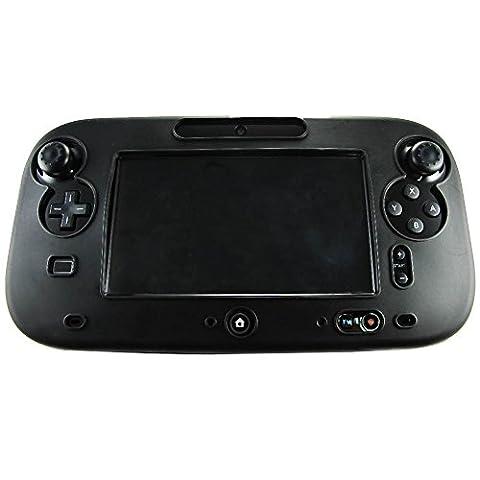 Pandaren® Silikon Skin Cover hülle für Nintendo Wii U Tablet Controller (Schwarz) + thumb grips aufsätze x 2