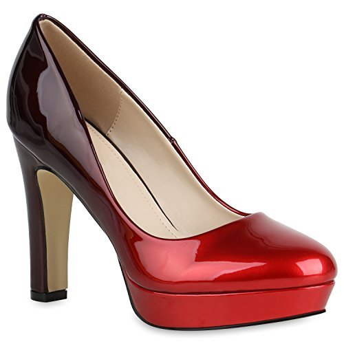 Stiefelparadies Damen Schuhe Pumps Plateau High Heels Lack Metallic Party Schuhe 157764 Rot Dunkelrot 39 Flandell