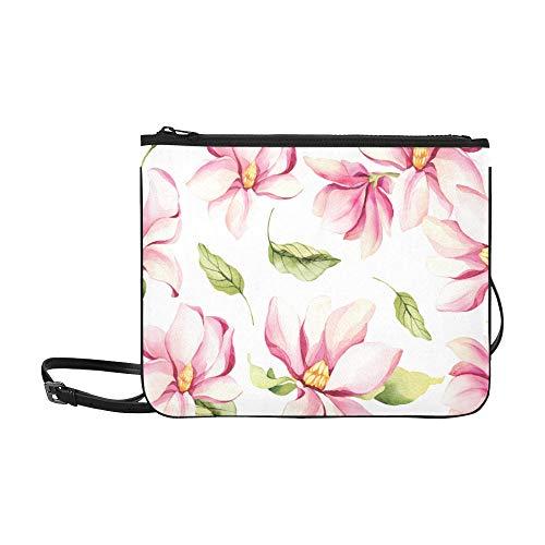 WYYWCY Blüten und Knospen Magnolienmuster Benutzerdefinierte hochwertige Nylon Slim Clutch Crossbody Tasche Umhängetasche -