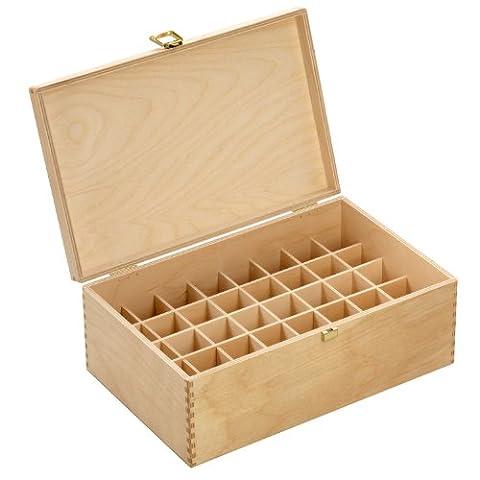 Holzbox aus hellem Birkenholz - für 40 Flaschen (30 ml) - Maße: 305 x 199 x 116 mm (BxTxH) - Lochdurchmesser: 33.5 mm, eckig *** Bachblütenbox, Aufbewahrung, Bachblüten, Essenzen, Flaschen, Apothekerflaschen, Tropferflaschen, Geschenk, Geschenkidee, Holzartikel ***