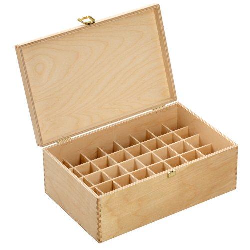 Holzbox aus hellem Birkenholz - für 40 Flaschen (30 ml) - Maße: 305 x 199 x 116 mm (BxTxH) - Lochdurchmesser: 33.5 mm, eckig *** Bachblütenbox,...