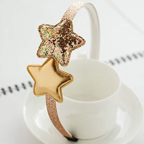 JWTS Neue kinder Stirnband Goldene Geschenke 1 STÜCK Party Kinder Rosa Haarband Stern Mädchen Silber Herz Pailletten PU Handgemachte Haarschmuck, Star Gold