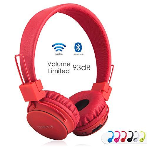 Termichy Bluetooth Stéréo Pliable on-Ear Casques, sans Fil/Filaire À Double capacité Oreillettes Bluetooth Support Carte MicroSD/Radio FM, Microphone intégré pour Les appels Mains -Libres (Rouge)