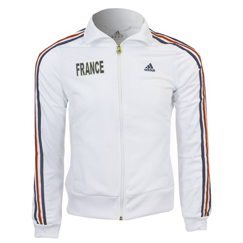 Adidas France Track Top Jacke Sportjacke Damen weiss Hooded Track Top