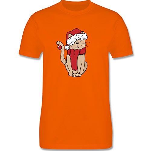 44750e2682ff Weihnachten   Silvester - Weihnachts-Katze - Herren Premium T-Shirt Orange