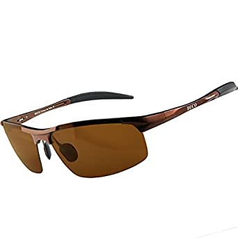 Duco Men's Driving Sunglasses Polarized Glasses Sports Eyewear Fishing Golf Goggles 8177S (Brown Frame,Brown Lens)