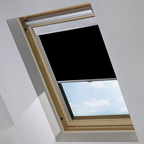 MCTECH Dachfenster Rollo Sonnenschutz Verdunkelung Thermorollo Jalousien Rollos (P06/406, schwarz)
