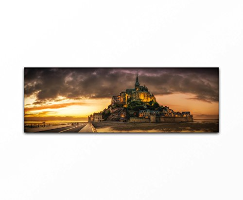 Bilderfabrik - Naturbild - Burg - auf Leinwand und Holzkeilrahmen bespannt. Beste Qualität, handgefertigt in Deutschland. (50x150 cm) - Leinwand Burg
