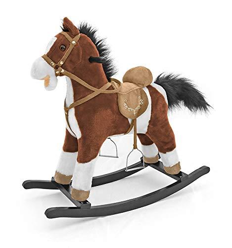 Milly mally 5907717434157 - cavallo a dondolo giocattolo con orsacchiotto con effetti sonori, bianco