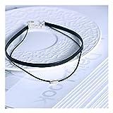 MTWTM Collar De Plata Pura De Doble Capa Velvet Rope Collar Simple Clavícula Cadena Collar Tela Cuero Cuerda,SOGA Corta