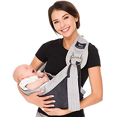 Cuby Breathable Baby Carrier Mesh Fabric, Ideal for Summers/Beachhe Adjustable Ring Sling Baby Carrier. Ergo Friendly (Gray) (Gray)