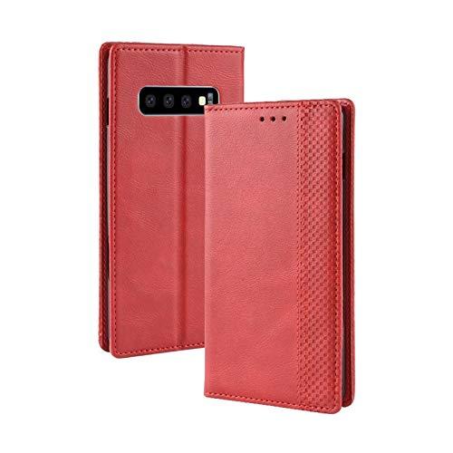 Zhanying pour Samsung Galaxy S10 Design De Mode en Cuir PU + Conception Intérieure Souple Business Fermeture Magnétique Flip Portefeuille Housse De Protection (Couleur : Rouge)