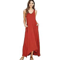 NASKY Mujer Vestido Verano 2018 Sin Mangas Cuello V Casual Vestido de Playa con Bolsillo Maxi T-shirt Vestido (Small, Rojo ladrillo)
