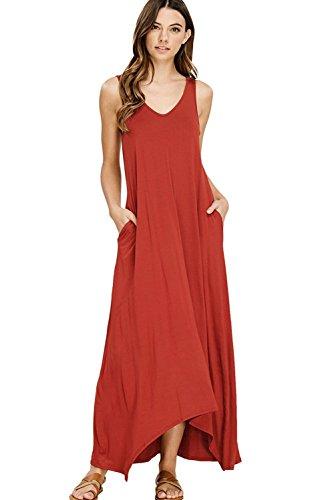NASKY Women's/Ladies Maxi Sleeveless Dress / Long Sleeve Dresses with Pockets Casual T-Shirt Summer Long Dress