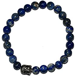 Aatm Reiki Energiezed Gift Natural Gemstone 7-8mm Round Beads Buddha Beaded Lapis Lazuli Crystal Gemstone Chakra Stretch Bracelet Unisex for Healing (Stone of Enlightenment & Balancing)