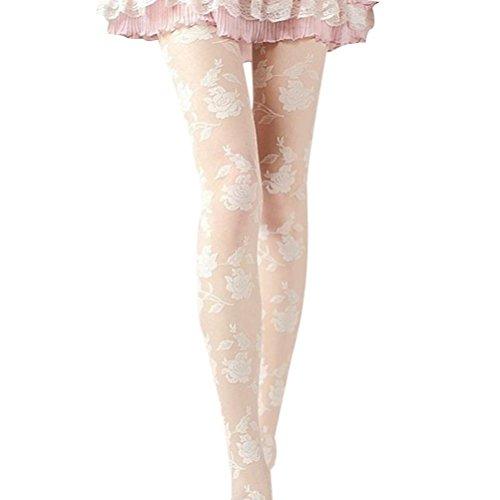 Damen Strumpfhose URSING Sexy Rose Drucken Spitze Pantyhose Frauen Elegant Stretchy Strumpfhosen Reizvoller Stockings Tights Leggings Mädchen Mode Slim Fit Elastische Strümp Overknee Hosen (Weiß) (Gestreiften Oberschenkel Nylon Höhen)