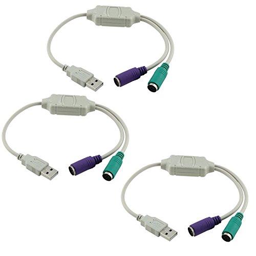 DaoRier USB zu PS/2 PS2 Adapter 2 X Mini-Din 6 Buchse USB A Stecker 2X Maus Tastatur an USB, 3 Stück -