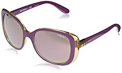 VOGUE Womens Plastic Woman Non-Polarized Iridium Rectangular Sunglasses, Top Dark Violet Yellow, 55 mm