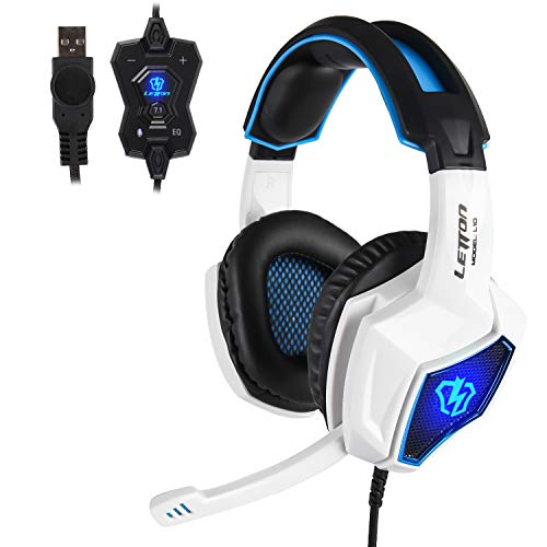 Anivia Gaming Headset für PS4 PC Computer Headset Weiß mit Mikrofon Surround Sound PC Gaming Kopfhörer mit Kabel L10 Over Ear Gaming Rauschunterdrückung für Laptop Tablet Mac Weiß Blau