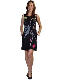Robe sans manches d' été Femmes avec broderie, Patch & Spiral Print Design