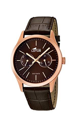 Lotus - 15958/2 - Montre Homme - Quartz - Analogique - Aiguilles Lumineuses - Bracelet Cuir Marron