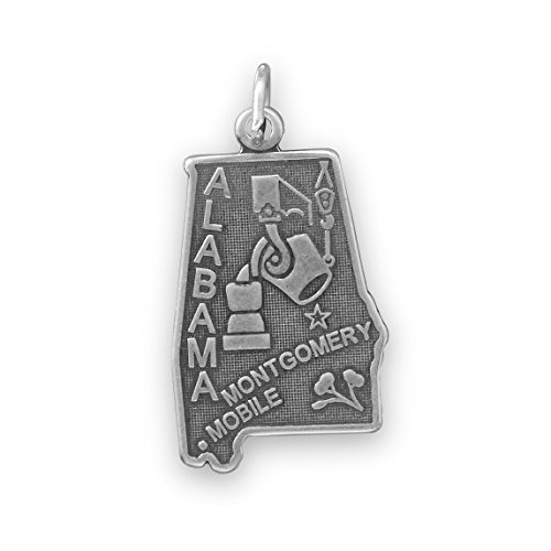Welcome to Goldammer State. oxidiert Sterling Silber Alabama State Charm 14,5mm x 29mm (State Anhänger Alabama)