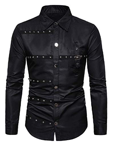 Camisa de Manga Larga para Hombre, diseño gótico con Remaches y Botones Negro Negro (US L
