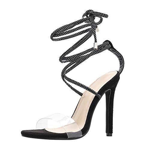 COZOCO Sommer Openwork Bankett High Heels Sexy Damen Cross Strap Riemchen Transparente High Heel Schuhe RöMische Sandalen(Schwarz,34 EU)