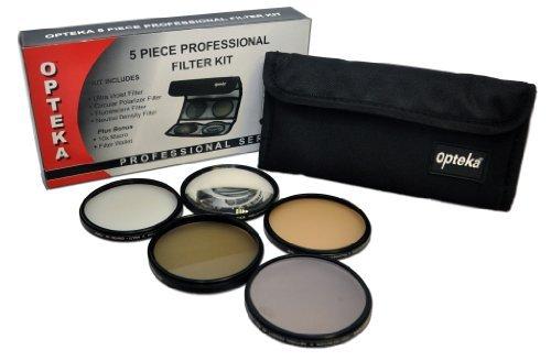 Opteka ad alta definizione² Professional 5Piece Filter kit includes UV, CPL, FL, ND4and 10x macro lente per fotocamera Panasonic Lumix dmc-fz40