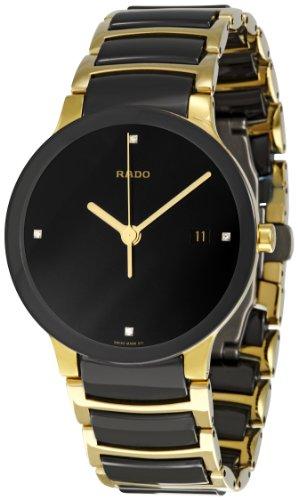Rado-Mens-Centrix-38mm-Multicolor-Ceramic-Band-Gold-Plated-Case-Swiss-Quartz-Black-Dial-Watch-R30929712