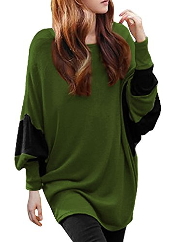 allegra-k-women-color-block-batwing-sleeves-loose-tunic-top-xl-green