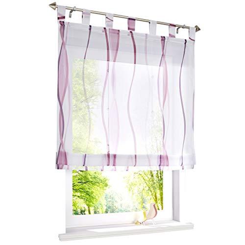 ESLIR Raffrollo mit Schlaufen Gardinen Küche Raffgardinen Transparent Schlaufenrollo Vorhänge Mit Wellen-Druck Modern Voile Violett BxH 100x140cm 1 Stück