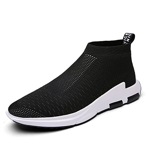 IceUnicorn Mens trainers Slip on Lightweight Running Shoes Outdoor Breathable Sneakers Casual Walking Shoes(Black,8UK)