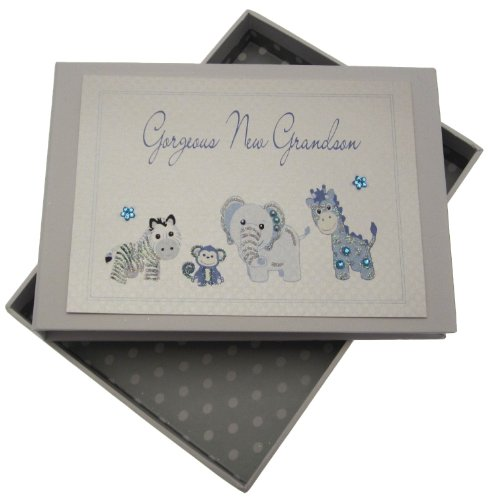 White Cotton Cards Handmade Gorgeous Grandson Tiny, used for sale  Delivered anywhere in UK