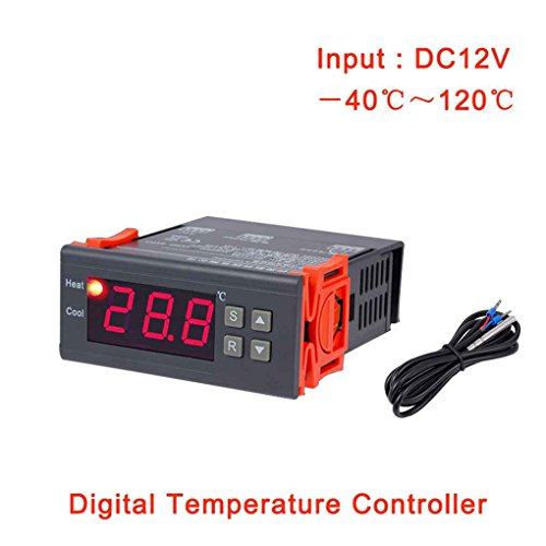 Lorsoul MH1210A DC 12V -40 ℃ ~ 120 ℃ Thermostatregler, Digitale LCD-Kühlschrank Temperaturregler, Thermoregler mit Sensor