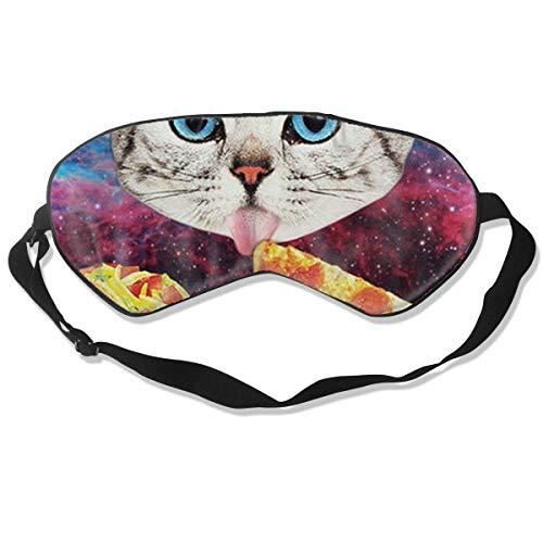 Schlafmaske, Augenmaske, ultra-weich, natürlicher Seidenstoff und Baumwolle, gefüllt, Schlafmaske mit verstellbarem Riemen für Herren, Frauen und Kinder, Galaxy Space Kätzchen Katze Essen Pizza -